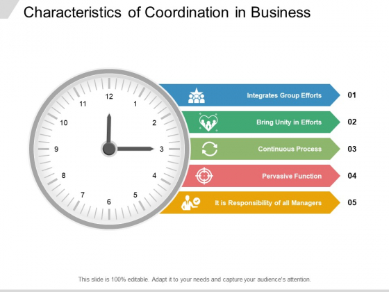 Characteristics Of Coordination In Business Ppt Powerpoint Presentation Infographics Templates