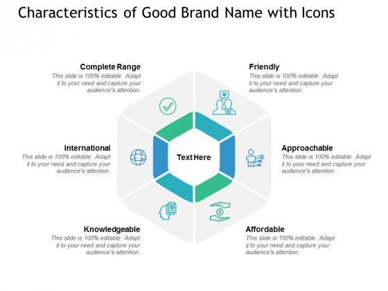 Characteristics Of Good Brand Name With Icons Ppt PowerPoint Presentation Inspiration Pictures