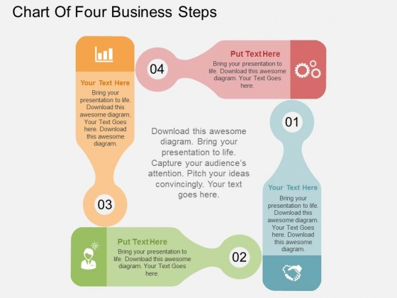 Chart Of Four Business Steps Powerpoint Templates