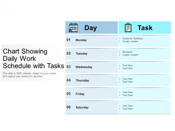 Chart Showing Daily Work Schedule With Tasks Ppt PowerPoint Presentation Gallery Slides PDF