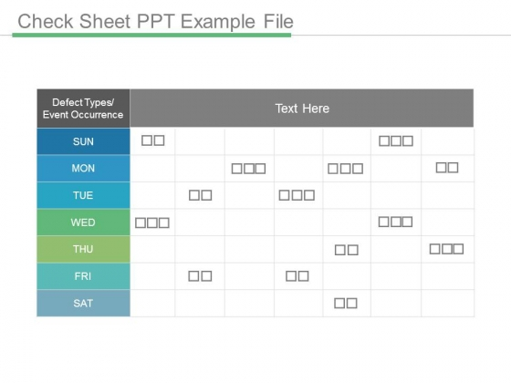 Check Sheet Ppt Example File