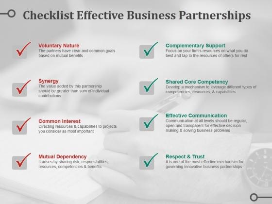 Checklist Effective Business Partnerships Ppt PowerPoint Presentation File Design Inspiration