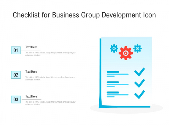 Checklist For Business Group Development Icon Ppt PowerPoint Presentation Gallery Shapes PDF