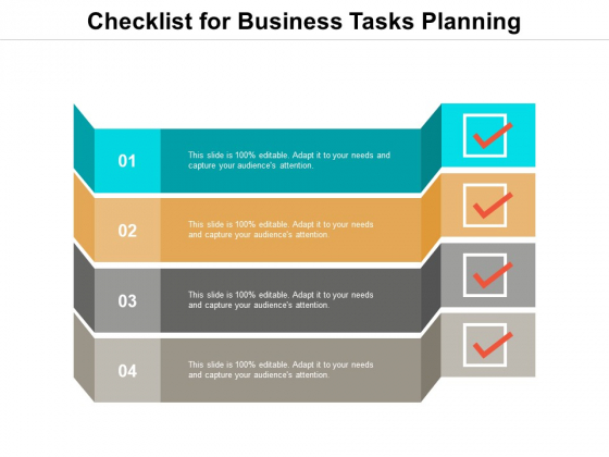 Checklist For Business Tasks Planning Ppt Powerpoint Presentation Slides Outfit