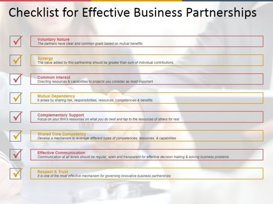 Checklist For Effective Business Partnerships Ppt PowerPoint Presentation Gallery