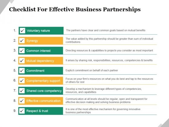 Checklist For Effective Business Partnerships Ppt PowerPoint Presentation Infographics Graphics Template