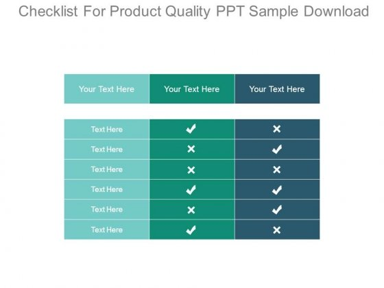 Checklist For Product Quality Ppt Sample Download