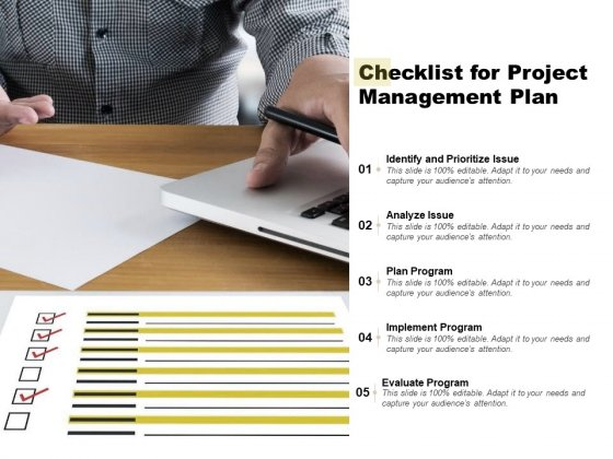 Checklist For Project Management Plan Ppt PowerPoint Presentation Show Layout