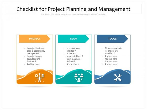 Checklist For Project Planning And Management Ppt PowerPoint Presentation Infographics Show PDF