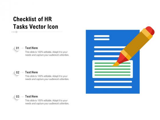 Checklist Of HR Tasks Vector Icon Ppt PowerPoint Presentation File Information PDF