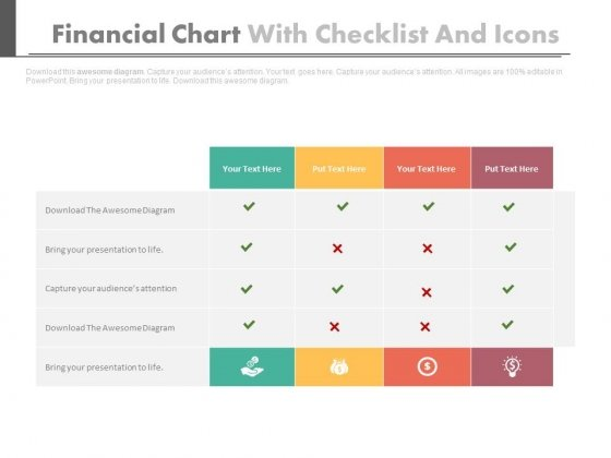 checklist with financial planning icons powerpoint slides