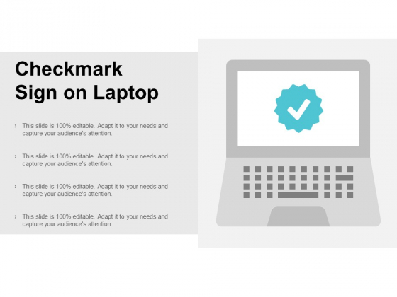 Checkmark Sign On Laptop Ppt PowerPoint Presentation Model Portfolio