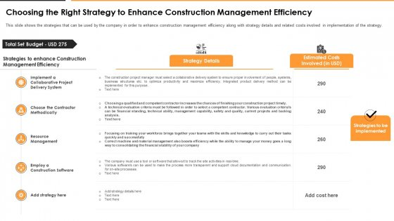 Choosing The Right Strategy To Enhance Construction Management Efficiency Download PDF