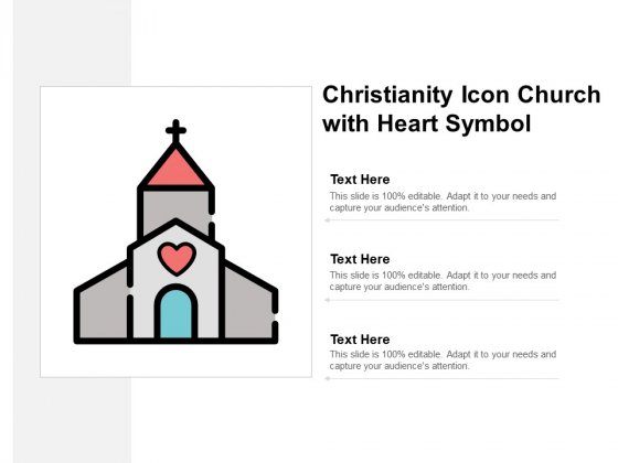 Christianity Icon Church With Heart Symbol Ppt PowerPoint Presentation Inspiration Infographics