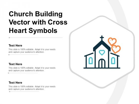 Church Building Vector With Cross Heart Symbols Ppt PowerPoint Presentation Inspiration Samples