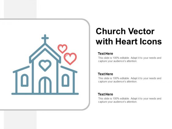 Church Vector With Heart Icons Ppt PowerPoint Presentation Icon Example Introduction
