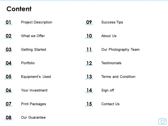 Cinematography Project Proposal Content Ppt File Slide Portrait PDF
