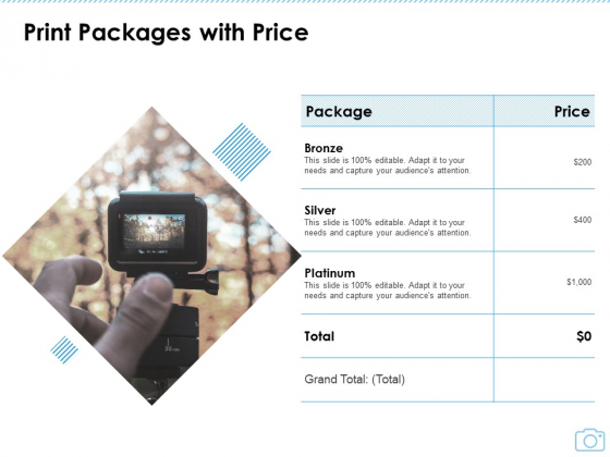 Cinematography Project Proposal Print Packages With Price Ppt Portfolio Introduction PDF