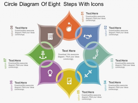 Circle Diagram Of Eight Steps With Icons Powerpoint Template