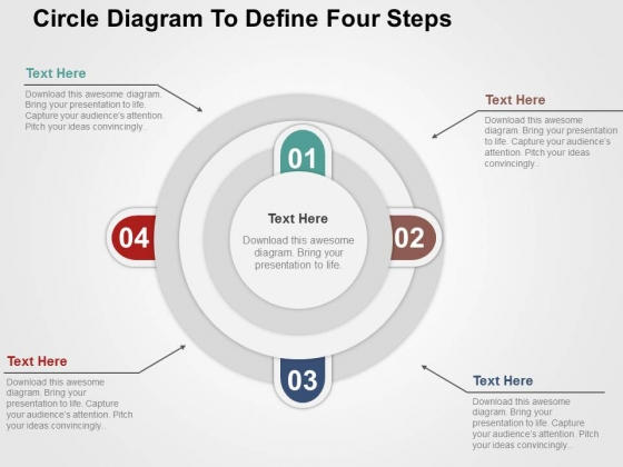 Circle Diagram To Define Four Steps Powerpoint Templates