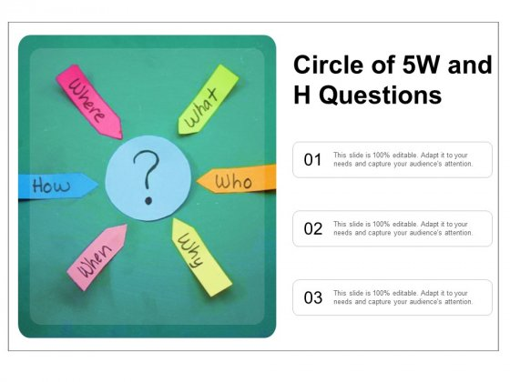 Circle Of 5W And H Questions Ppt PowerPoint Presentation Portfolio Topics