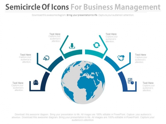 Circle Of Business Icons Around Globe Powerpoint Slides
