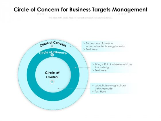 Circle Of Concern For Business Targets Management Ppt PowerPoint Presentation Gallery Graphics Template PDF