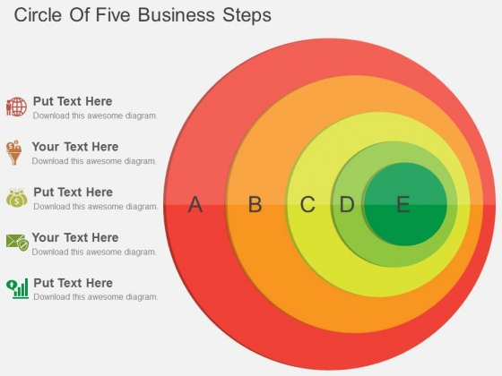 Circle Of Five Business Steps Powerpoint Template