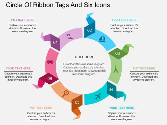 Circle Of Ribbon Tags And Six Icons Powerpoint Template
