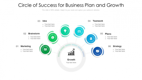 Circle Of Success For Business Plan And Growth Ppt PowerPoint Presentation Gallery Ideas PDF
