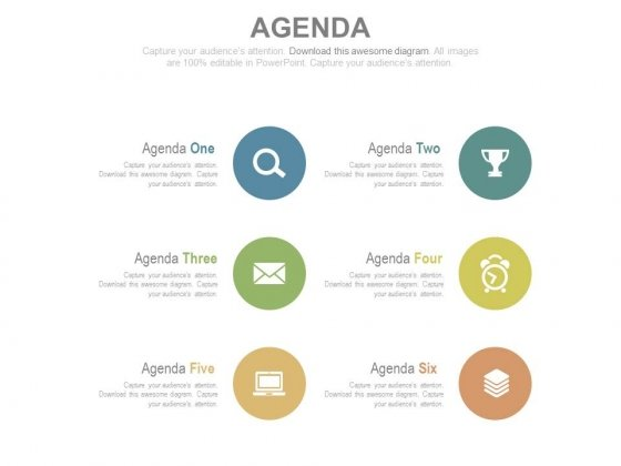 Circle Tags With Icons For Business Agenda Powerpoint Slides