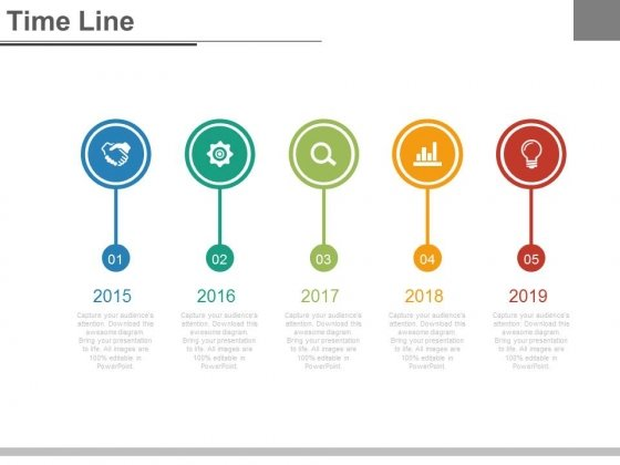 circle yearly tags timeline with icons powerpoint slides