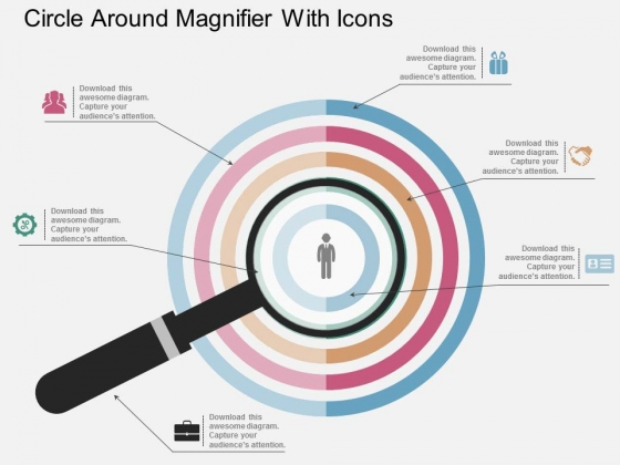 Circles Around Magnifier With Icons Powerpoint Template