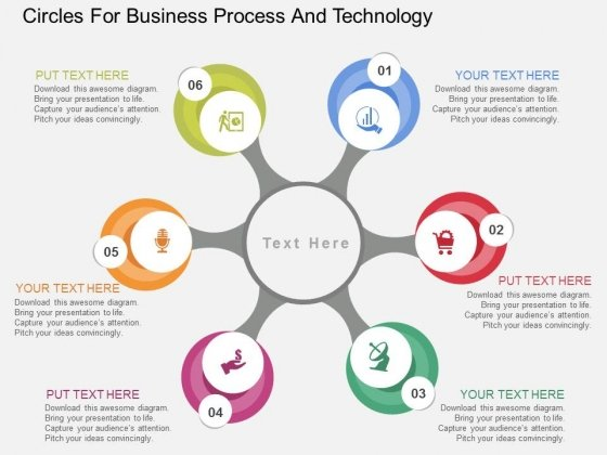 Circles For Business Process And Technology Powerpoint Templates
