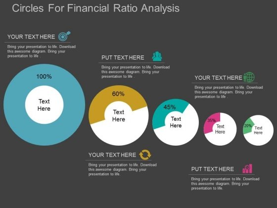 circles for financial ratio analysis powerpoint template, Modern powerpoint