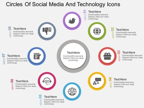 Circles Of Soicial Media And Technology Icons Powerpoint Template