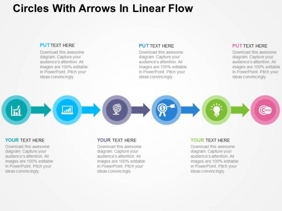 Circles With Arrows In Linear Flow Powerpoint Templates