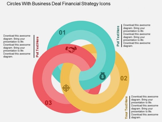 Circles With Business Deal Financial Strategy Icons Powerpoint Templates