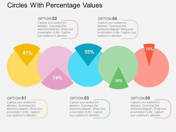 Circles With Percentage Values Powerpoint Templates