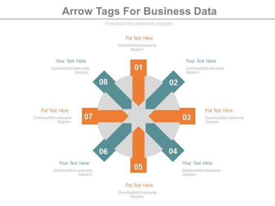 Circular Arrow Tags For Business Information Powerpoint Template
