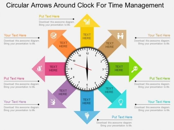 Circular Arrows Around Clock For Time Management Powerpoint Template