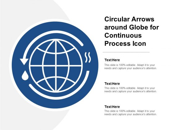 Circular Arrows Around Globe For Continuous Process Icon Ppt PowerPoint Presentation Infographics Infographic Template