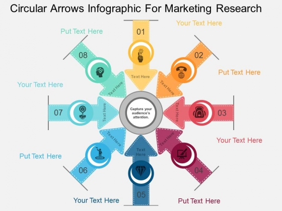 Circular Arrows Infographic For Marketing Research Powerpoint Template