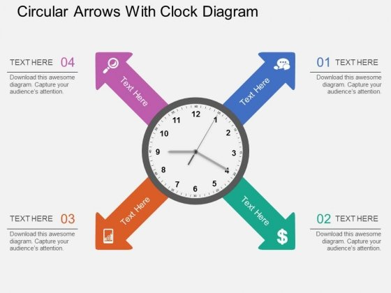 Circular Arrows With Clock Diagram PowerPoint Template