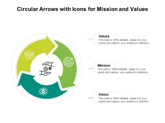 Circular Arrows With Icons For Mission And Values Ppt PowerPoint Presentation File Demonstration PDF