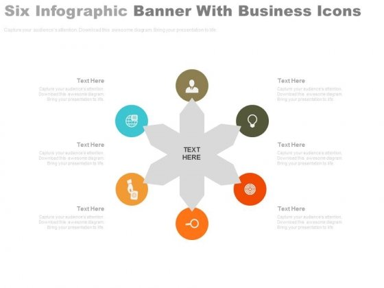 Circular Banners With Business Icons Powerpoint Slides