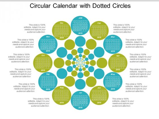 Circular Calendar With Dotted Circles Ppt Powerpoint Presentation Infographic Template Background Designs