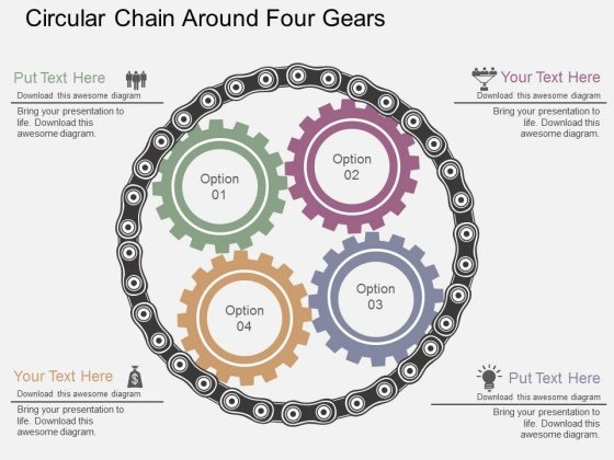Circular Chain Around Four Gears Powerpoint Templates