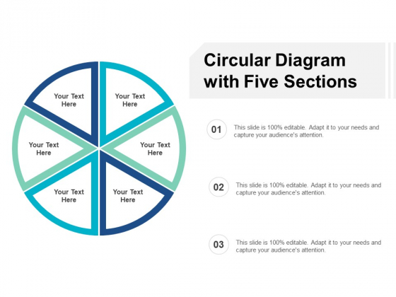 Circular Diagram With Five Sections Ppt PowerPoint Presentation Visual Aids Summary