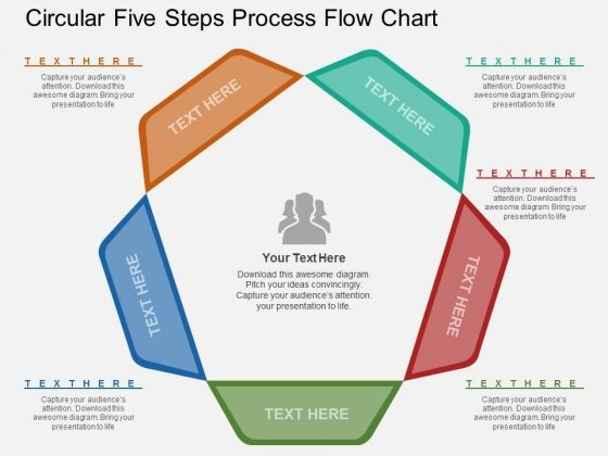 Circular Five Steps Process Flow Chart PowerPoint Template